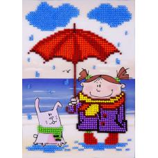 O614 Під дощем. Луїза. Схема на тканині для вишивання бісером