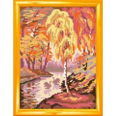 H32 Пейзаж Золота осінь. Чарівниця. Канва з нанесеним малюнком