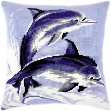 V16 Дельфіни. Подушка. Чарівниця. Набір для вишивання нитками на канві з нанесеним малюнком