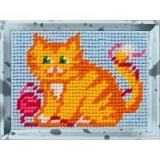 X2110 Рудий кіт з клубком. Bambini. Набір для вишивання нитками на канві з нанесеним малюнком