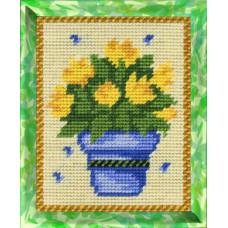 X2201 Жовті тюльпани. Bambini. Набір для вишивання нитками на канві з нанесеним малюнком