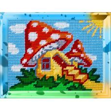 X2236 Будиночок у грибочке. Bambini. Набір для вишивання нитками на канві з нанесеним малюнком