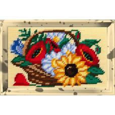 X2301 Польові квіти в кошику. Bambini. Набір для вишивання нитками на канві з нанесеним малюнком