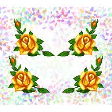 K209 Жовті троянди (21х29 см). Confetti. Водорозчинний флізелін з малюнком