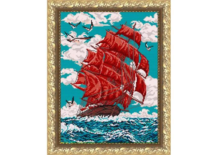 VKA3048 Червоні вітрила (корабель). ArtSolo. Схема на тканині для вишивання бісером