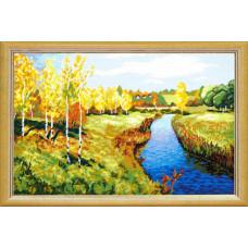 TS39 Золота осінь. В. Левітан. Quick Tapestry. Набір для вишивання нитками на канві з нанесеним ри