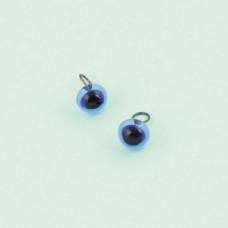 289-82500-00-6mm-30062 Скляні очі, блакитний, діаметр 6мм, Чехія. Чарівна Мить