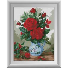 30301 Червоні троянди. Dream Art. Набір діамантового живопису (квадратні, повна)