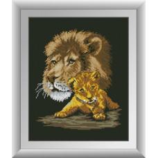 30685 Батько і син (леви). Dream Art. Набір алмазної мозаїки (квадратні, повна)