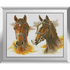31607 Два коні. Dream Art. Набір діамантового живопису (квадратні, повна)