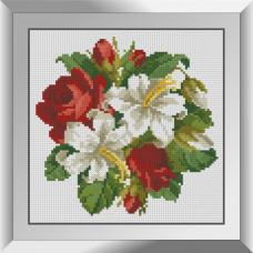 31621 Букетик лілій з трояндами. Dream Art. Набір діамантового живопису (квадратні, повна)