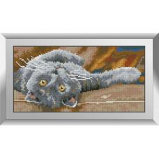 31647 Димчастий кіт 2. Dream Art. Набір алмазної мозаїки (квадратні, повна) .