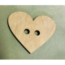 317 Сердечко ґудзик. 10 шт/уп. Розмір 5*4 см. Декор з фанери