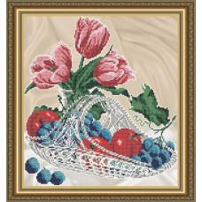 VKA4707 Яблука з виноградом в кришталі. ArtSolo. Схема на тканині для вишивання бісером