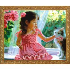 СГ 2526 Дівчинка і кошеня. Світ гармонії. Схема для вишивання бісером