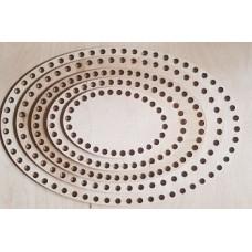 383/1 Денце для плетених кошиків овальне діаметр отвору 8 мм 1 шт/уп. Розмір 30*20  см. Декор з фанери