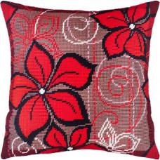 V134 Червоні квіти. Подушка. Чарівниця. Набір для вишивання нитками на канві з нанесеним малюнком