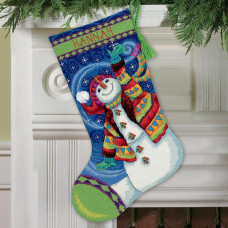 71-09143 Щасливий сніговик. Чобіток. Dimensions. Набір для вишивання нитками (гобелен)