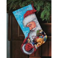 71-09145 Панчоху. Санта та іграшки. Dimensions. Набір для вишивки нитками