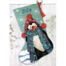 71-09160 Чобіток Пінгвін Fuzzy Penguin. Dimensions. Набір для вишивки нитками (гобелен)