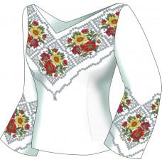 F2504 Чарівні квіти. Діана Плюс. Схема викрійка для вишивання жіночої сорочки