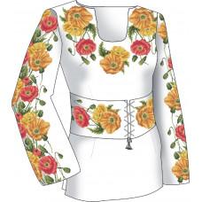 F2501 Маки. Діана Плюс. Схема викрійка для вишивання жіночої сорочки