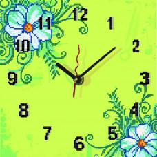 ВТ 1523 Годинник Ромашки (лимонний фон). Повна скриня. Схема для вишивання бісером
