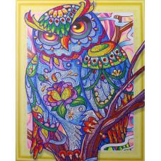HZ025 Різнобарвна сова 3. DA. Набір алмазної мозаїки (стрази)