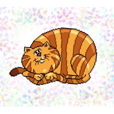 K322 Смугастий кіт (20х30 см). Confetti. Водорозчинний флізелін з малюнком