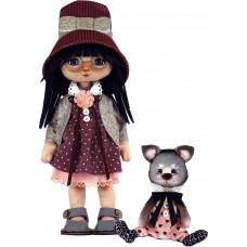К1075 Дівчинка з котиком. ZooSapiens. Набір для шиття іграшки