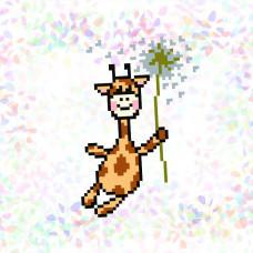 K125 Жираф на кульбабі (10х15 см). Confetti. Водорозчинний флізелін з малюнком