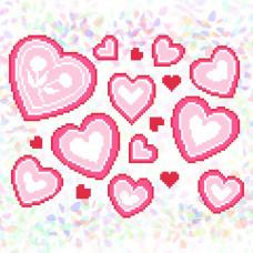 K332 Серця (20х30 см). Confetti. Водорозчинний флізелін з малюнком