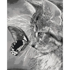 КНО2499 Кошеня і метелик. Ідейка. Набір для малювання картини за номерами