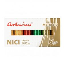 Набор ниток асорті Ariadna Metallic Earth Silva 30N і Silva 40N 6 шт, 150/250 м, Польща