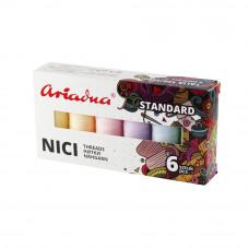 Набір ниток Ariadna Talia 120 Standart Pastel 6 шт, 200 м, Польща