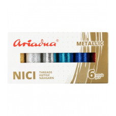 Набір ниток асорті Ariadna Metallic Sky Silva 30N і Silva 40N 6 шт, 150/250 м, Польща
