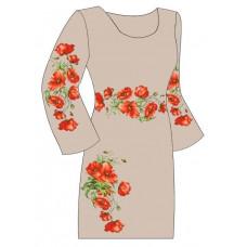 ПлПс-009 З Жіноче плаття, полусинтетика (сірий). Тб 56й стиль. Заготівля для вишивки нитками або бісе