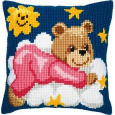PN-0008574 Ведмедик в рожевому на хмарі. Подушка. Vervaco. Набір для вишивки хрестом