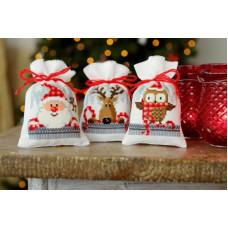 PN-0149462 Різдвяні друзі 2. Мішечки для саші. Набір для вишивки нитками. Vervaco
