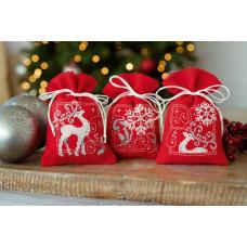 PN-0150819 Олені і сніжинки. Мішечки для саші. Набір для вишивки нитками. Vervaco