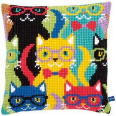 PN-0155266 Funny Cats Смішні кішки. Подушка. Vervaco. Набір для вишивання нерахунковим хрестом