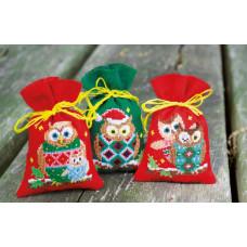 PN-0155943 Різдвяні сови. Мішечки для саші. Набір для вишивки нитками. Vervaco