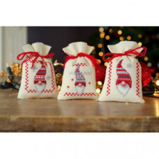 PN-0155951 Різдвяні гноми. Мішечки для саше. Набір для вишивки нитками. Vervaco