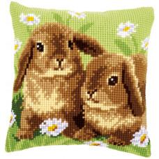 PN-0162709 Two Rabbits Два кролика. Подушка. Vervaco. Набір для вишивання нерахунковим хрестом