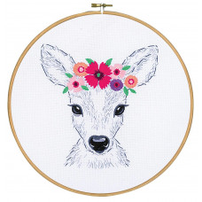 PN-0170263 Deer with flowers (Олень з квітами). Подушка. Vervaco. Набір для вишивки гладдю