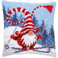 PN-0172809 Christmas gnome skiing. Подушка. Vervaco. Набір для вишивання нерахунковим хрестом