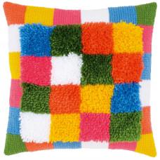 PN-0175563 Bright squares (Яскраві ква). Подушка. Vervaco. Набір для вишивки в килимовій техніці