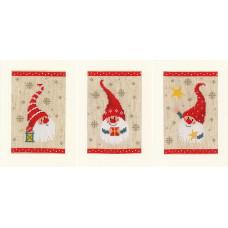 PN-0184428 Christmas  gnomes. Листівка. Vervaco. Набір для вишивки хрестом