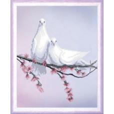 СБ-326 Пара голубів. Чарівна Мить. Схема на тканині для вишивання бісером