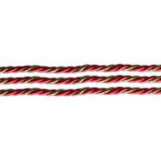 ШВ-002 Шнур кручений червоний для оформлення чобітків і іграшок, діаметр 4 мм, (на метраж). Марічка